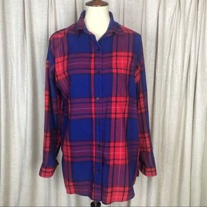 Old Navy Red Blue Plaid Boyfriend Button Shirt M